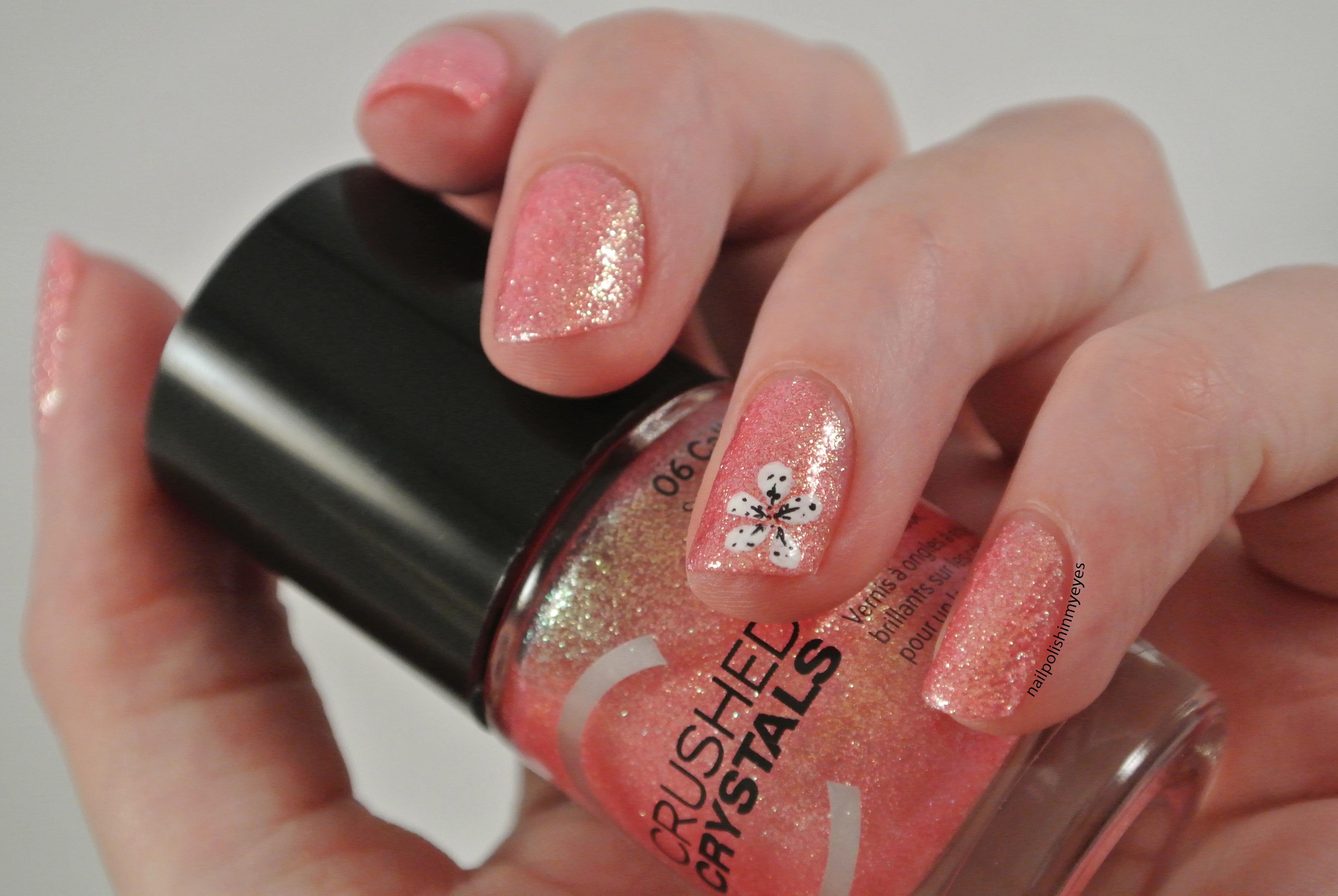 Pink Crystal & Flower | Nail Polish in my Eyes